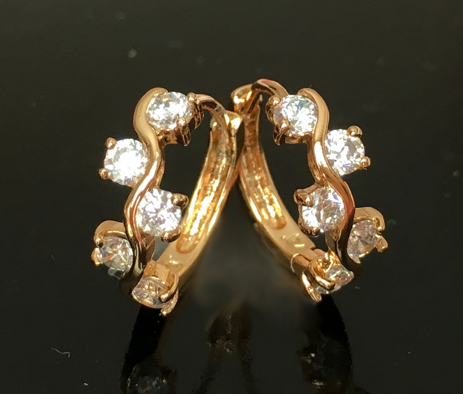 Luxus Ohrringe Creolen Zirkonia Hänger Champagner 750er Gold 18 Karat vergoldet