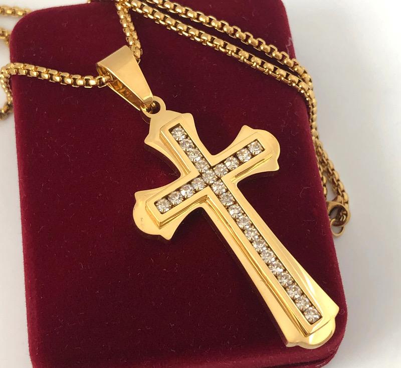 Anhänger Kreuz Gold plated 24 Karat vergoldet 60cm Herren Gelbgold Halskette